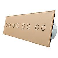 Сенсорный выключатель Livolo на восемь (2+2+2+2) каналов, цвет золото, стекло (VL-C708-13)