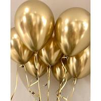 Шары воздушные хром золото (50 шт/уп), фото 1