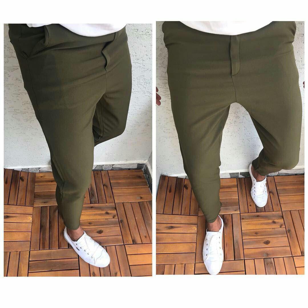 Мужские брюки зауженные оливковые