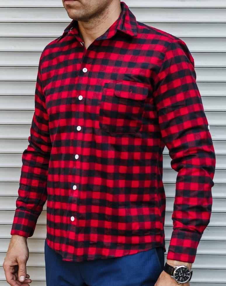 f6d22f0d012 Мужская Рубашка в Клетку Темно-синяя с Красным