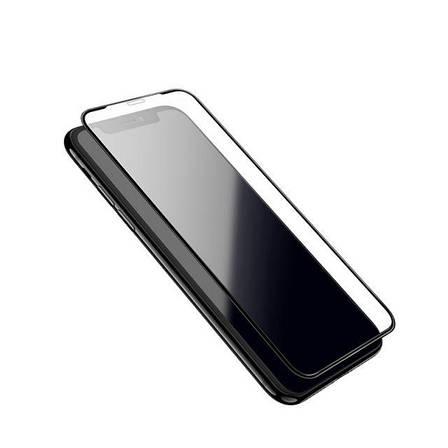 Захисне скло Hoco для Apple iPhone XR Shatter-Proof edges Full Glue Чорна рамка, фото 2