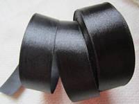 Лента атлас 2,5 см чёрная
