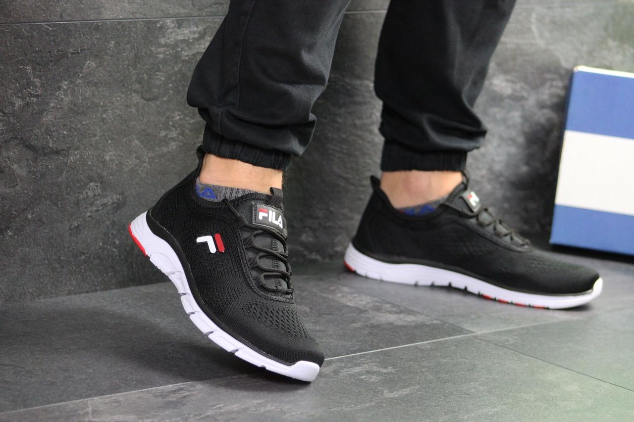 Мужские кроссовки Fila (темно-черно-белые)