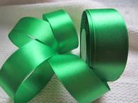 Лента атлас 2,5 см зелёная