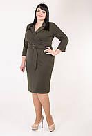 Лаконичное платье для полных женщин цвет хаки