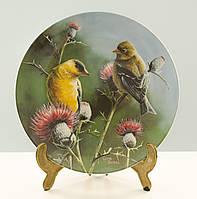 Коллекционная фарфоровая тарелка, фарфор, The goldfinch, Knowles, Англия, 1987 год, фото 1