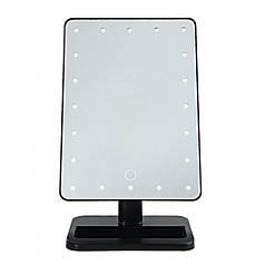 Настольное косметическое зеркало с подсветкой для макияжа Magic Large LED Mirror 22 Черное