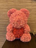 Мишка из 3D роз 40 см. Подарочный мишка из цветов