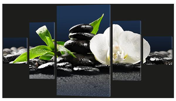 Модульная картина Interno Холст Камни орхидея 152х85см (R602L)