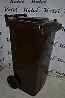 Мусорный бак на колёсах пластиковый коричневый с крышкой 120 л., фото 1