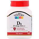 Витамин D3 (Д3), 1000 МЕ 110 таб 21st Century USA, фото 2