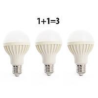 Набор светодиодных ламп Led или лед лампочки, купить энергосберегающие диодные лампы 3 шт QGT 5W 6000K 220V E27 (778)