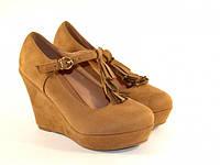 Туфли на удобной танкетке из экозамша