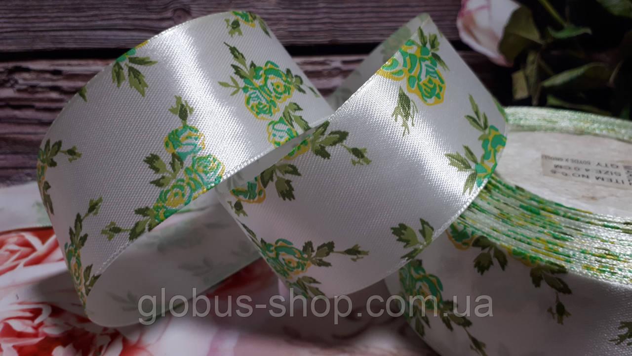 Роза 4 см, біло-зелена