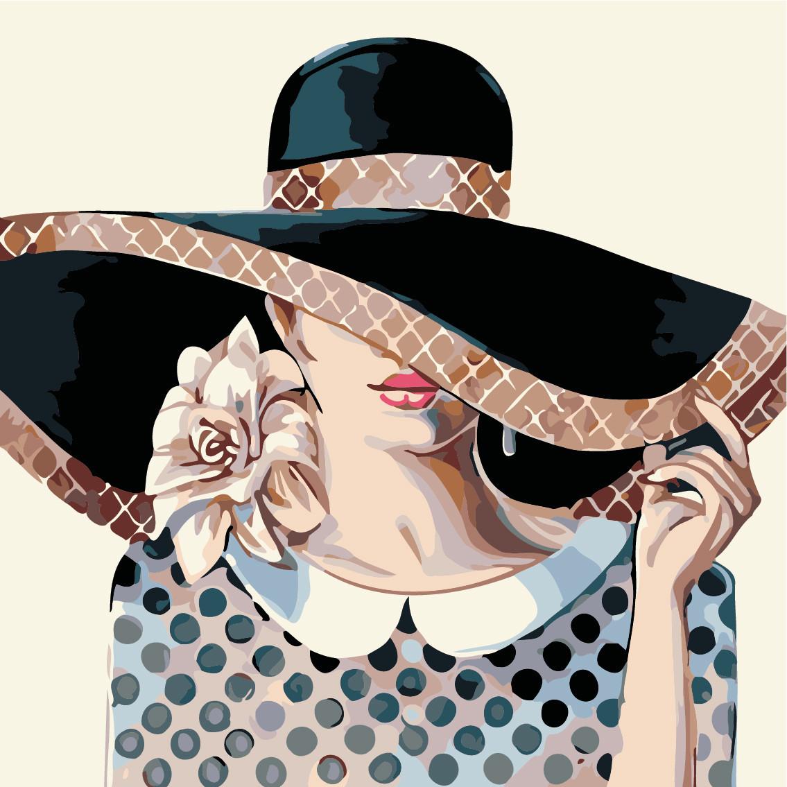 Картина по номерам (AS0509) Дама в шляпе 40 х 40 см