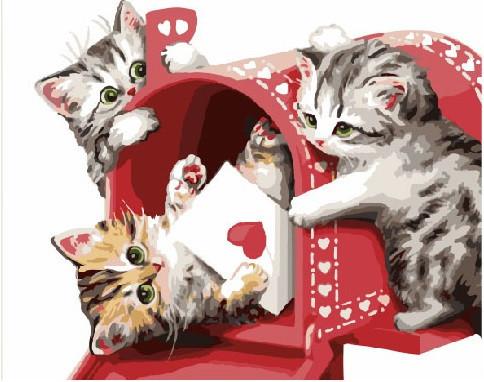 Картина по номерам (BK-GEX5207) Кошачья почта 40 х 50 см