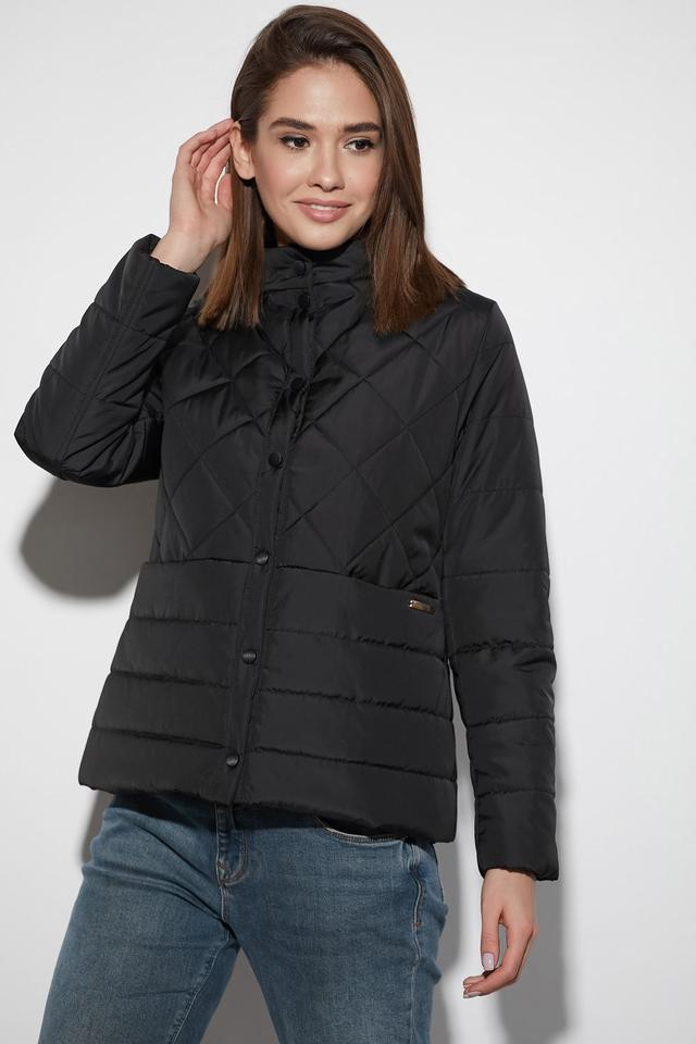 Женская весенняя куртка, короткая, чёрная, из плащёвки, размеры от 42 до 48