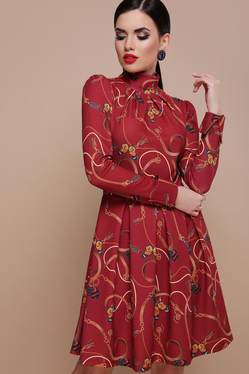 Женское элегантное платье красное принт ремешки-бабочки  Эльнара д/р