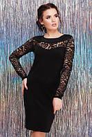 Черное вечернее платье с гипюровым рукавом