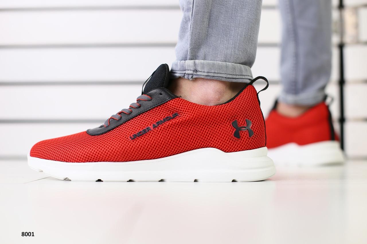 Мужские кроссовки в сетку красного цвета на белой подошве