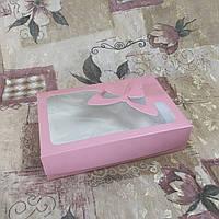 Коробка под зефир / *h=6* / 250х170х60 мм / печать-Пудр / окно-Бабочка / лк, фото 1