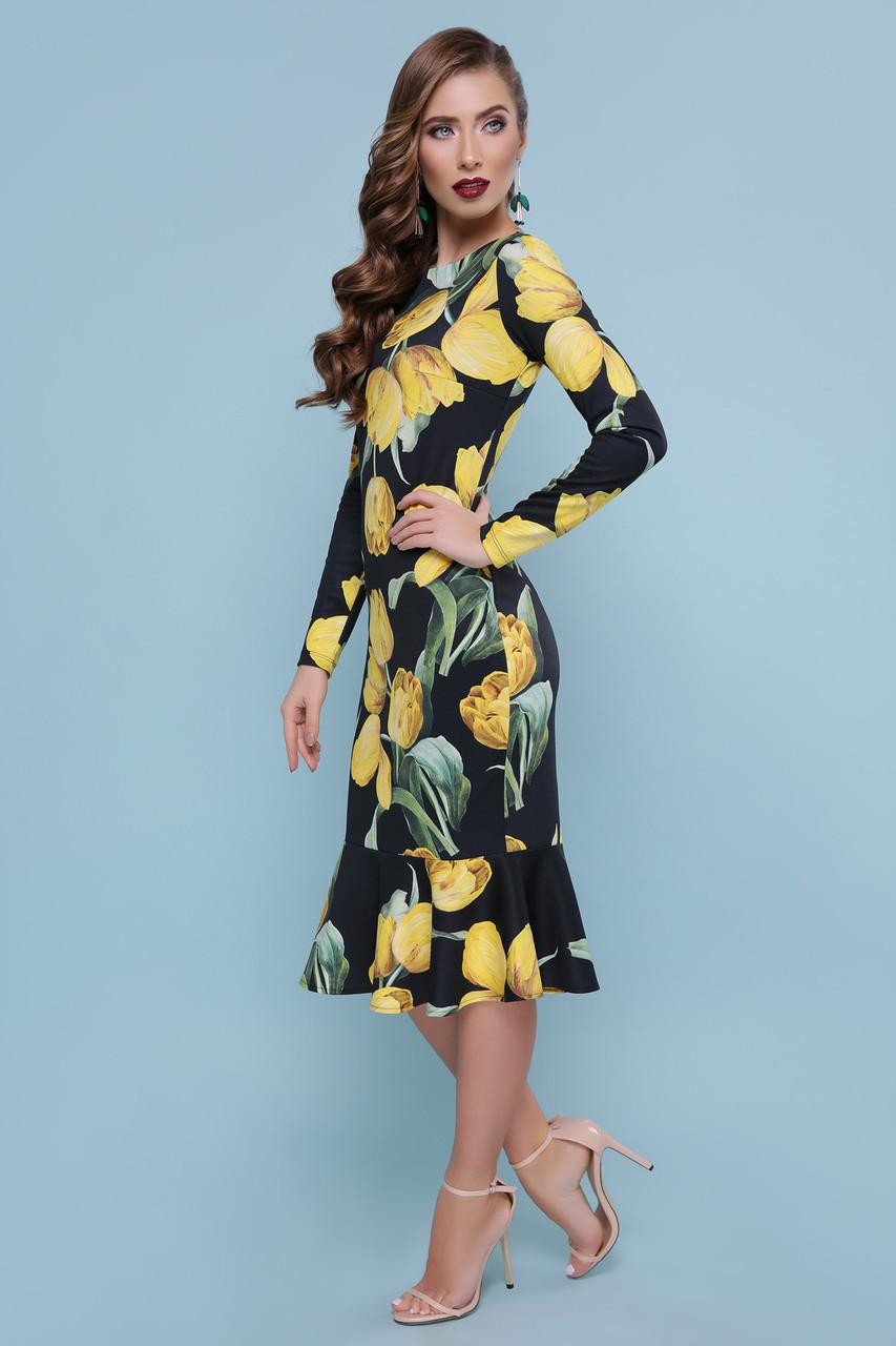 Цветочное нарядное коктейльное женское платье миди с воланом внизу Фаина д/р