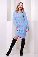 Платье женское голубое вязанное