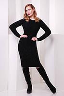 Красивое вязанное черное платье