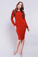 Женское стильное платье миди красное