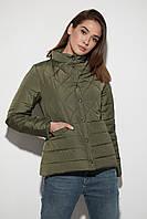 Женская демисезонная куртка, короткая, цвет хаки, из плащёвки, размер от 46-48