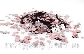 Конфетти квадратики розовое золото 5-8х5-8 мм 50 г/упак. металлик полипропилен