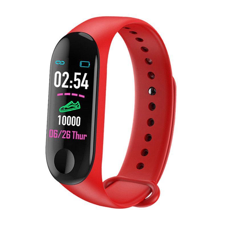 """Фитнес браслет, трекер, шагомер """"SmartGo"""" в красном цвете с цветным дисплеем"""
