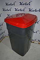 Мусорный бак серый с крышкой на 90л, фото 1