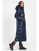 Зимняя куртка женская длинная темно синяя