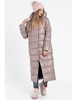 Зимняя длинная куртка женская бежевая