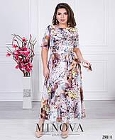 9a481e5b06b 891 грн. Оптовые цены. В наличии. Платье-миди на запах с короткими рукавами  и расклешенным подолом ...