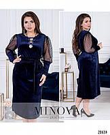 Нарядное женское бархатное платье свободного кроя с вставками из сетки в расцветках больших размеров 50 - 56