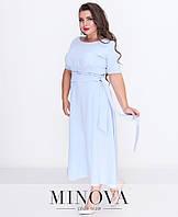2a4a4c453d5 Платье-миди на запах с короткими рукавами и расклешенным подолом (размеры  48-54)