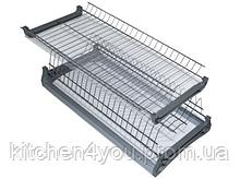 Хромированная кухонная сушка в секцию 600 мм. с алюминиевой рамкой