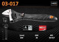 Ключ разводной 200мм c регулируемой головкой, NEO 03-017