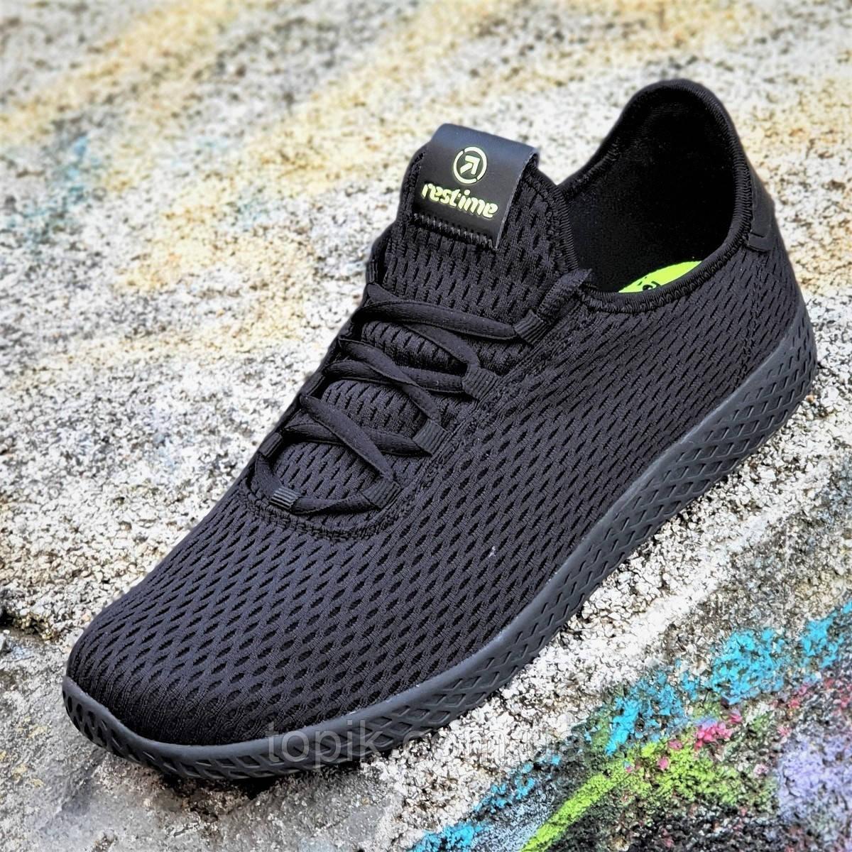 Мужские кроссовки сетка черные легкие и мягкие с адаптивной стелькой подошва пенка (Код: 1339)