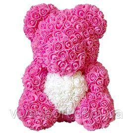 Мишка из роз с сердечком, цветочный мишка с сердцем