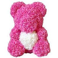 Мишка из роз с сердечком, цветочный мишка с сердцем, фото 1