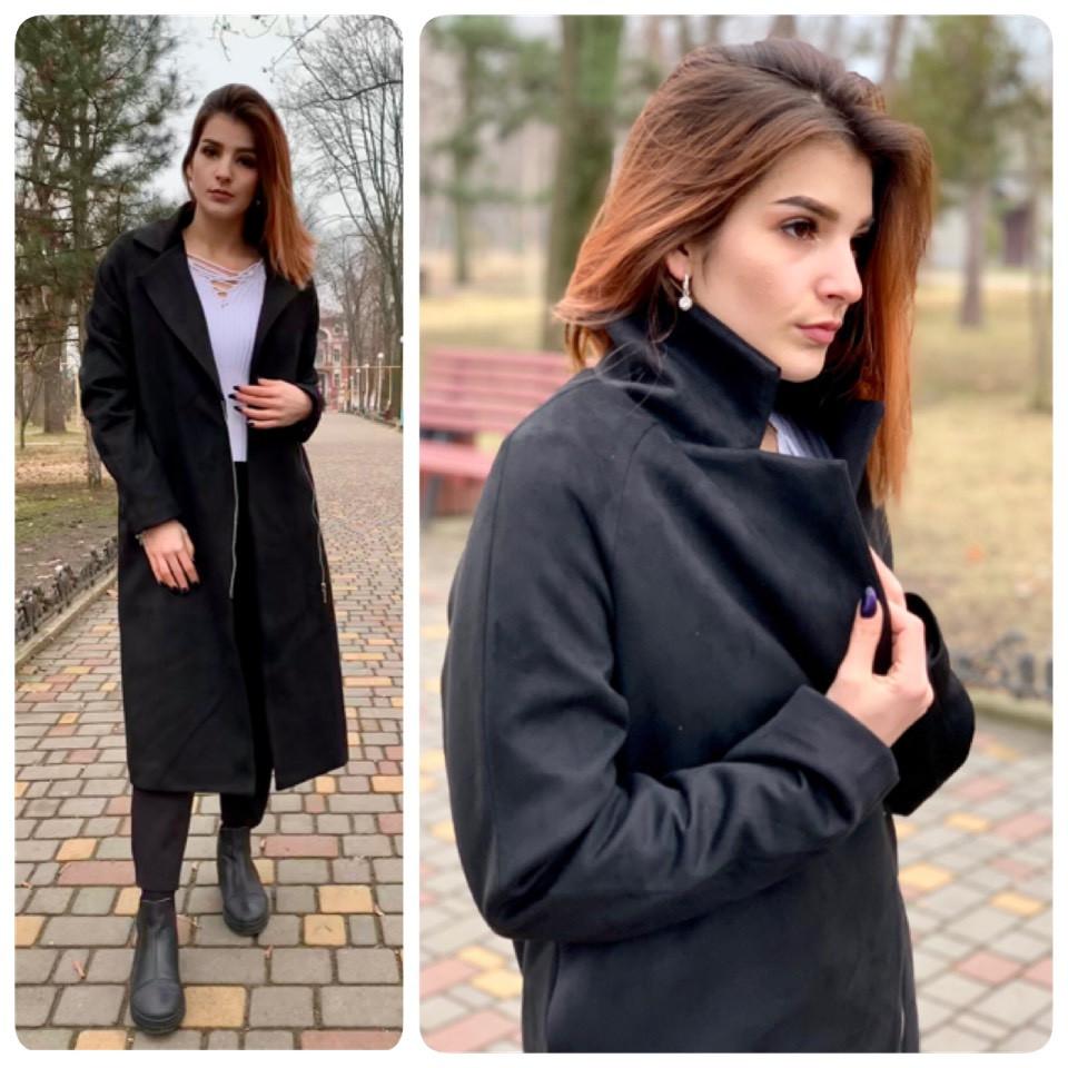 Пальто-кардиган жіночі на підкладці замш арт.M100 чорного кольору