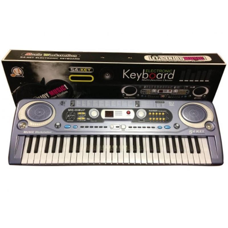 Детское пианино-синтезатор MQ020FM с микрофоном, регулировкой громкости, работает от батареек и от сети