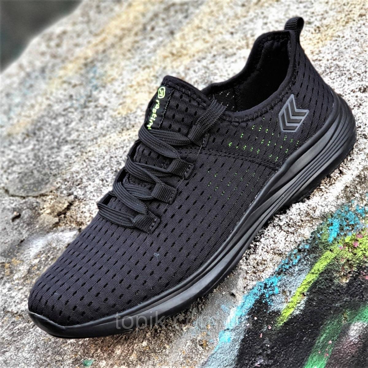 Мужские кроссовки сетка черные мягкие и удобные на весну лето легкая подошва из пенки (Код: 1340)