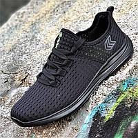 Мужские кроссовки сетка черные мягкие и удобные на весну лето легкая подошва из пенки (Код: 1340), фото 1
