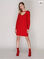 Красное платье с чокером женское летнее прямого силуэта