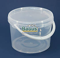 Ведро 3л из пищевого пластика круглое с крышкой (прозрачное)