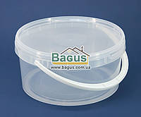 Ведро 3л (низкое) из пищевого пластика круглое с крышкой (прозрачное)